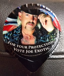 """Joe Exotic condoms that say """"For your protection vote Joe Exotic"""""""